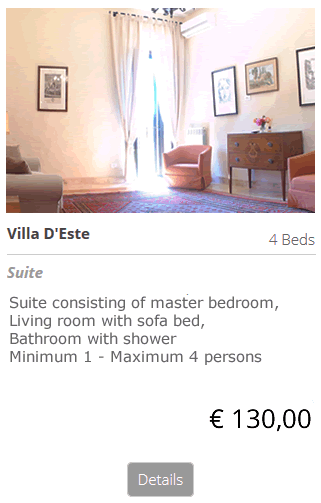 Bed and Breakfast Villa D'Este Tivoli Rome, sleepl b&b Villa D Este Tivoli Rome bed breakfast Price: