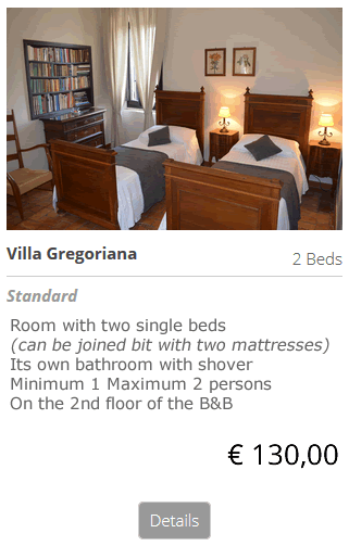 Bed and Breakfast Villa Gregoriana Rome sleep the night at the B&B bed and breakfast Villa Gregoriana in Tivoli Rome